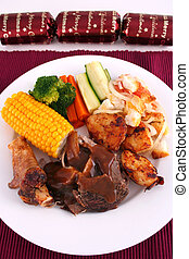 Portrait Christmas l - A roast lamb dinner with vegetables...