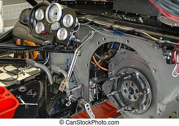 Funny Car Cockpit - Complex funny car dragster interior.