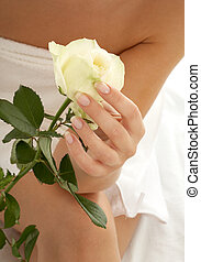 rosebud 2 - beautiful woman hand with rosebud