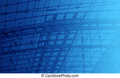 Engineering blue background - Structural glazing, metal wire...