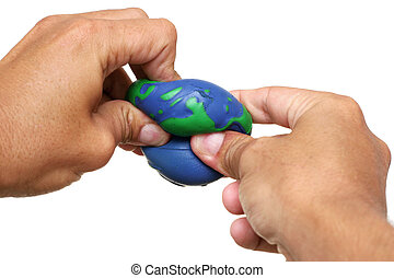 Planet Squeeze - Hand squeezing model of the Earth