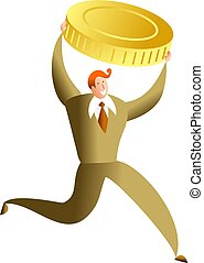 money success - happy business man running with gold coin -...