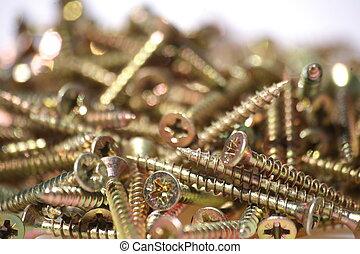 Screws - A quantity of shining, new screws