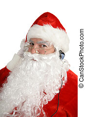 Santa Listens To Headphones - A happy santa claus listening...