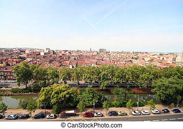 Toulouse city and Midi canal, aerial view