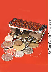 money change purse - money falling out of change purse