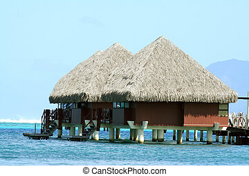 overwater bungalows - two overwater bungalows in Tahiti,...