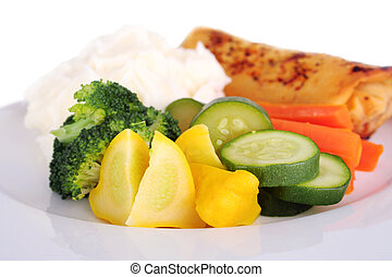 Steamed vegetables - Fresh steamed vegetables with mashed...