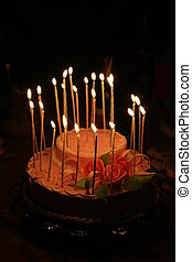 Birthday cake - A birthday cake with burning candles
