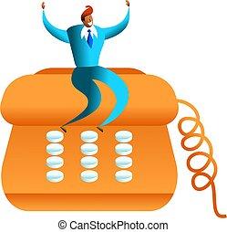 telephone success - happy ethnic business man sitting on...