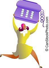 telephone success - happy ethnic woman carrying giant...