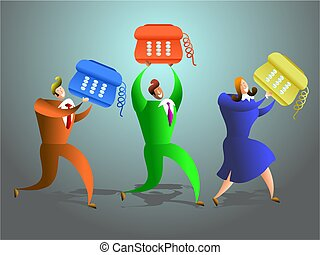 telephone team - team of office workers carrying telephones...
