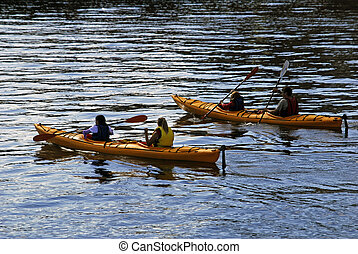 kayaks - a family going kayaking together