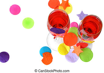Party Time - Two red party cocktails with confetti