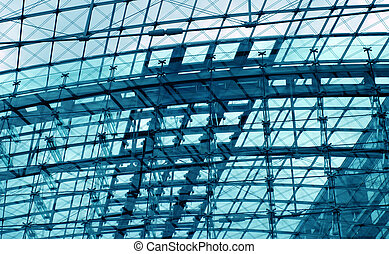 Engineering cyan background - Structural glazing, metal wire...