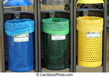Recycle bins for paper,glass,metal,plastic