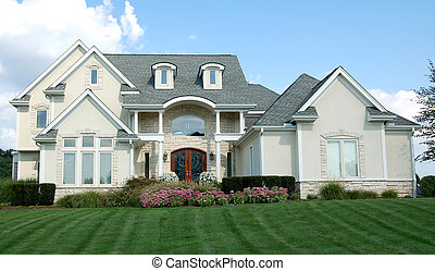 Two-story home - Two-story luxury home with beautiful lawn