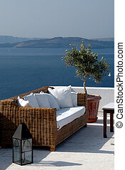 greek island view from patio - greek island scenic view from...