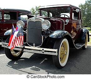 Car Show - Photographed vintage automobile at car show in...