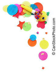 Party Confetti - Confetti and noisemaker over white