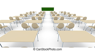 Classroom - Wide Ang - 3D rendered Illustration.