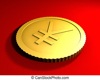 Generic Yen Coin - 3D rendered Illustration Generic Coin...