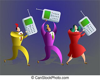 mobile team - happy team of business colleagues carrying...