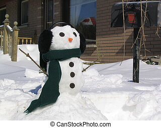 Snowman with Scarf - Snowman with cookie buttons, carrot...