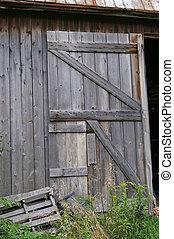 Open Barn Door - Broad-side of Old Wooden barn door