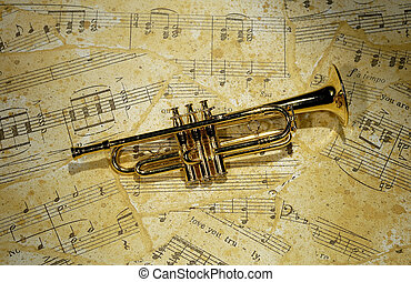 Trumpet - Photo of a Trumpet on Sheetmusic