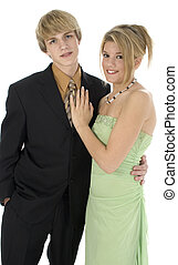 Teen Couple - 15 year old teen couple In suit and formal...