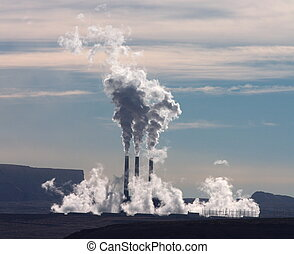 Smoke Stacks - Smoke out of tall stacks in Lake Powell area