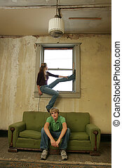 Teen Couple Impoverished Apartment - 15 year old boy and...