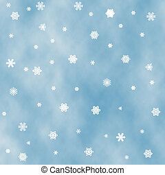 Slow snowfall. - Blue background with snow flurry. Snow is...