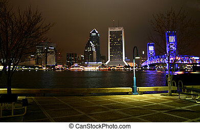 riverwalk nightscape - Night scene view of downtown...