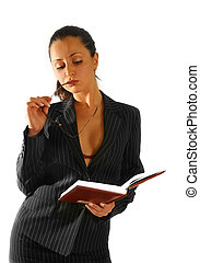 Business woman - The beautiful woman with the book