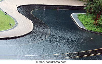 Fountain pool and walkway - Public park fountain and walkway...