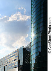 Potsdamer Platz - Reflection of the sky on an office...