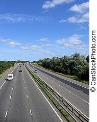 Highway in England with light traffic