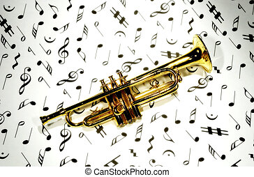 Trumpet - Photo of a Trumpet on Musical Notes