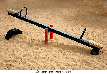Children swing . - Part of a park.Children swing .