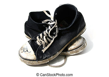 old shoes - old pair of baseball shoes - isolated