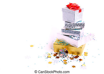 Chrismas boxes - Christmas gift boxes on white background