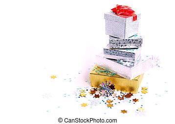 Chrismas boxes - Christmas gift boxes on white background
