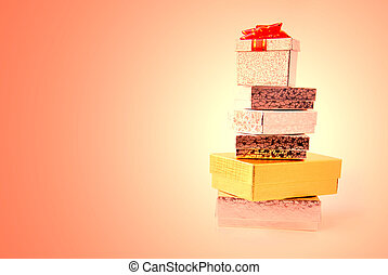 Gift boxes - Stacked gift boxes on colored background