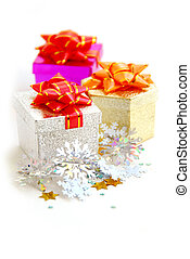 Gift boxes - Christmas gift boxes on white background
