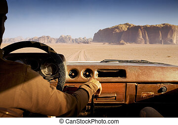 camel trophy - driving fast in the desert