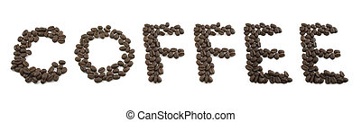 Isolated Coffee Beans Spelling COFFEE