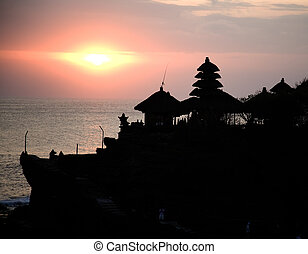 Balinese temple silhouette, Tanah Lot