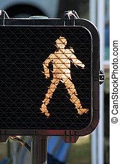 walk sign, safe cross the street.